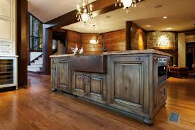 Kitchen Island Made From Reclaimed Wood by Barn Wood Kitchen Cabinets