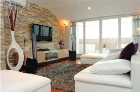 charming classic living room decoration using natural grey stone