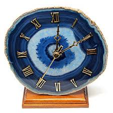 decorative clock agate desk clock with gold plated rim blue