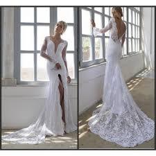 robe de mari e dentelle sirene robe de mariée mariage sirène blanche dentelle col v profond fendu