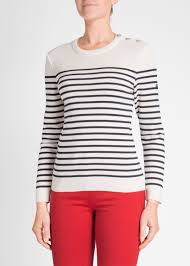 sweater with s breton stripe sweater with button shoulder