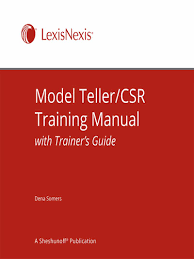 model teller csr training manual with trainer u0027s guide lexisnexis
