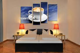kitchen modern art 4 piece blue canvas white modern cup abstract large pictures