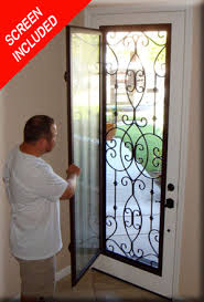 Exterior Glass Door Inserts Wrought Iron Glass Front Entry Doors Mediterranean Within