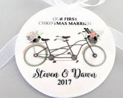 just married tandem bicycle personalized ornament