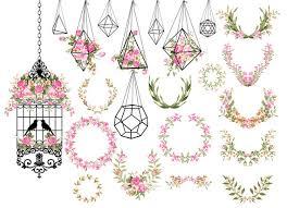 wedding clipart shabby chic clipart terrarium clipart birdcage