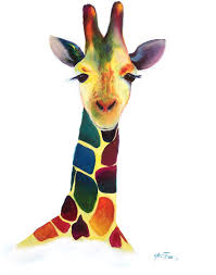 modern giraffe ring holder images Colorful giraffe modern acrylic painting on canvas jpg