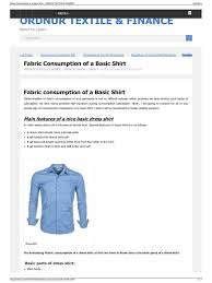 fabric consumption of a basic shirt shirt textiles