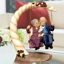 anniversary gift for parents gold torch resin figures home decor parents wedding