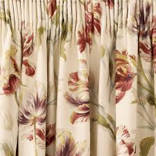 Terracotta Curtains Ready Made by Gosford Cranberry Floral Pencil Pleat Ready Made Curtains Laura