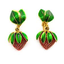 1960 s earrings vintage 1960s enamel gold tone strawberry clip retro earrings