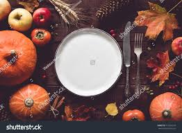 autumn thanksgiving day table setting stock photo