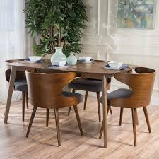 Midcentury Dining Chairs Langley Street Camille 5 Piece Walnut Mid Century Dining Set