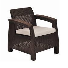 Overstock Armchair Keter Corfu Brown All Weather Outdoor Garden Patio Armchair With