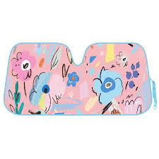 Light Pink Car Flower Drawing Auto Sun Shade For Car Suv Truck Pretty In Light