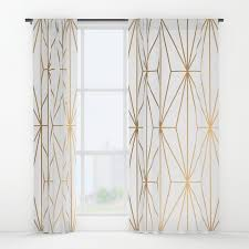 Gold Shimmer Curtains Gold Geometric Pattern Illustration Window Curtains By Victorys