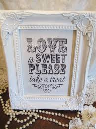 wedding candy baraged white sign love is sweet wooden shabby chic