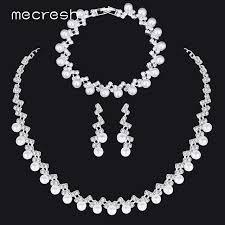 pearl crystal wedding necklace images Mecresh simple simulated pearl bridal jewelry sets silver color jpg