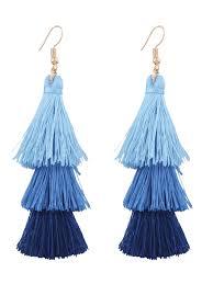 blue drop earrings tassel layered hook drop earrings blue earrings zaful