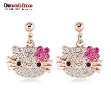 stud earring lzeshine lovely cat flower stud earring for gold color