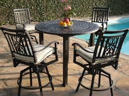 high table patio set high patio set with swivel patio chairs and inground swimming pool