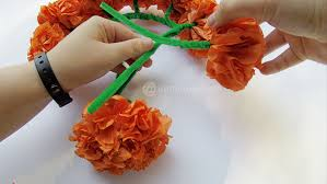 How To Make Mexican Paper Flowers - paper mexican marigold flower headpiece craft jamonkey