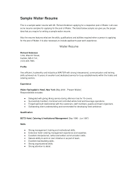 sample resume waiter sample internship resume template download