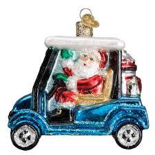 world santa a golf cart glass ornament 40287