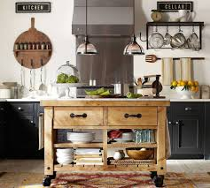 Wheeled Kitchen Islands Kitchen Butcher Block Island On Wheels Pottery Barn Kitchen