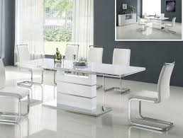 Dining Room  Cozy Rectangle White Laminated Modern Dining Room - White modern dining room sets