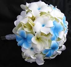 wedding flowers blue and white touch bouquet blue white frangipani plumeria bntplumfran