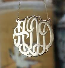 large monogram necklace 24k gold plated fancy script monogram necklace split chain be