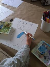 teddy bear writing paper thescribbleartstudio blog draw teddy bear on bristol paper and outline in black crayon next paint the bear a light blue and the background yellow make sure your teddy is dry use a