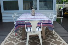 Patio Tablecloth by Backyard Deck Reveal Effortless Style Blog