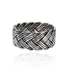 braided band oxidized sterling silver 10 mm braided woven wave antique style