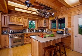 Rustic Cottage Kitchens - charming u shape rustic cabin kitchens decoration using solid oak