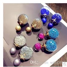 two sided earrings two sided earring small big balls punch and studs