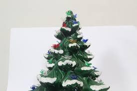 Large Ceramic Christmas Tree Vintage Large 17 Green Ceramic Christmas Tree Light With Snow