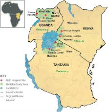 africa map study map of east africa showing six regions of the emblem study area