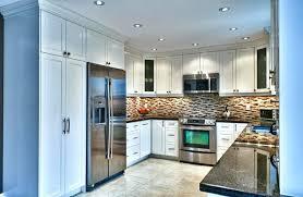 Small But Striking U Shaped Large Elegant U Shaped Kitchen White Cabinets Light Granite Island