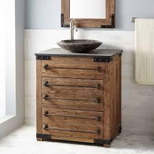 bathroom reclaimed pine wood bathroom vanity with vessel sink
