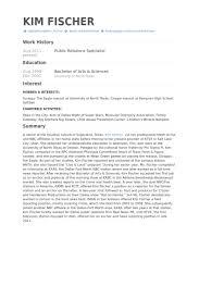Public Relations Resume Example public relations specialist resume samples visualcv resume