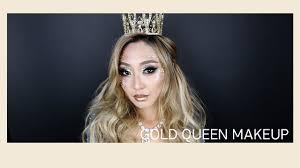 gold queen halloween makeup tutorial youtube
