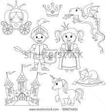Fairytale Princess Knight Castle Carriage Unicorn Stock Vector