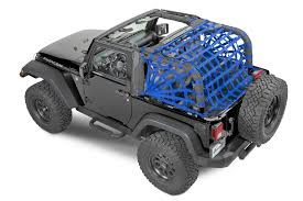rubicon jeep blue dirtydog 4x4 rear spider netting for 07 17 jeep wrangler jk 2