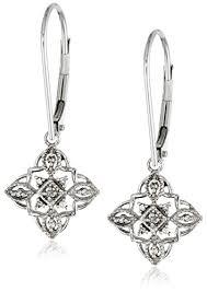 white gold dangle earrings 10k white gold diamond accent vintage dangle earrings
