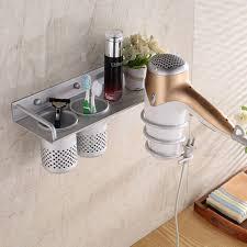 curling iron wall mount bathroom hair dryer storage organizer rack comb holder wall