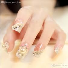 wholesale luxury french pearl false nails glue on fingernails
