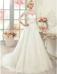 lace 3 4 sleeve wedding dress discount 2015 lace wedding dresses with sheer 3 4 sleeves a line