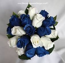 white and blue roses nagassar designs silk real touch custom wedding